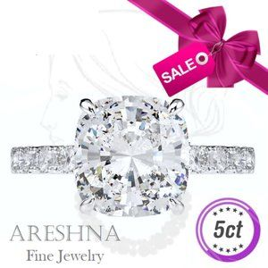 10K 5ct Diamond Cushion Cut Engagement Ring